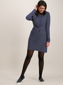 Blue Stripe Twist Front Tunic