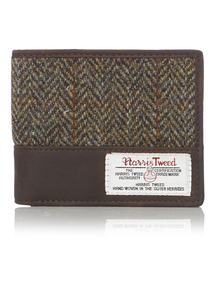 Brown Harris Tweed Leather Wallet
