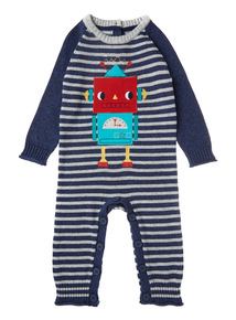 Boys Robot Striped Romper (0-24 months)