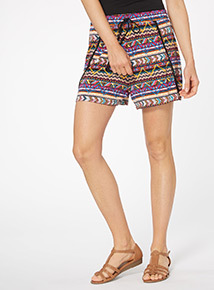 Multicoloured Aztec Print Shorts