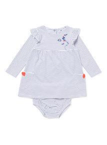 White Stripe Jersey Dress & Knickers Set (0-24 months)