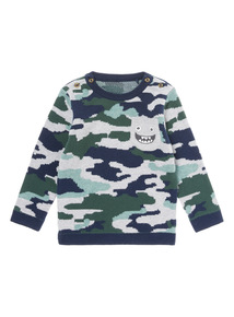 Khaki Dragon's Cave Camouflage Knit Jumper (0-24 months)
