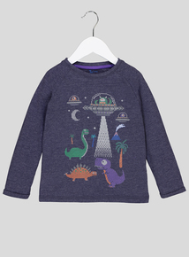 Black Dinosaur Long-Sleeved T-Shirt (9 Months - 6 Years)