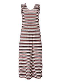 Stripe Ribbed Midi Dress