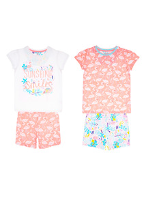 Multicoloured Flamingo Pyjama 2 Pack (1 - 6 years)