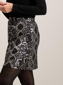 Black & Silver Snake Print A-Line Mini Skirt