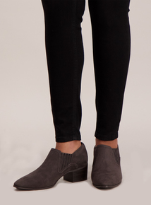 Grey Low-Cut Western Ankle Boots