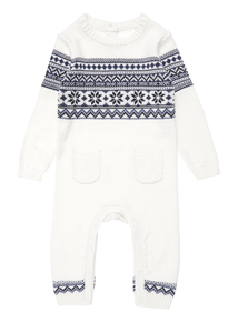 Boys Cream Fairisle Romper Suit (0-24 months)