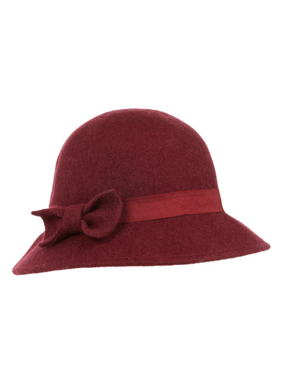 womens red felt cloche hat