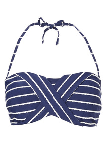 Navy Textured Stripe Bandeau Bikini Top