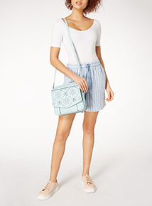 Light Blue Laser Cut Out Floral Cross Body Bag