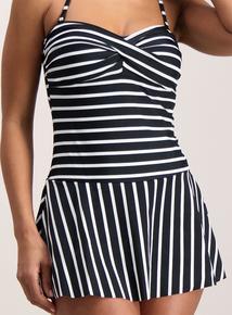 Monochrome Stripe Medium Tummy Control Skirted Swimsuit