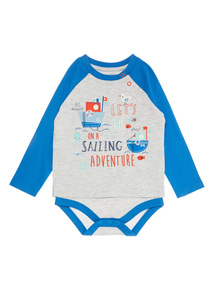 Boys Grey Raglan Bodysuit (0-24 months)