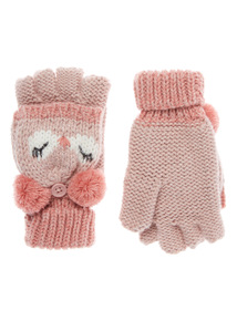 Pink Novelty Owl Knitted Flip Mittens (3-12years)