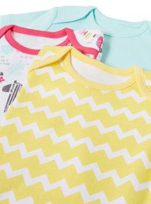 5 Pack Multicoloured Animal Short Sleeve Bodysuits (Newborn-36 months)