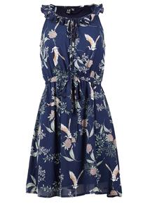 IZABEL Navy Tie Waist Fit & Flare Dress
