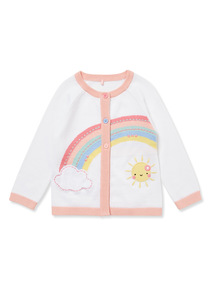 White Rainbow Embroidered Cardigan (0-24 months)