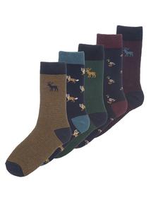Multicoloured Stay Fresh Country Animal Socks 5 Pack