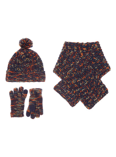 Navy and Orange Gloves, Hat and Scarf Set (3-12 years)