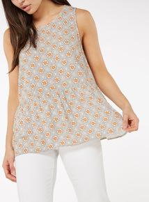 Multicoloured Sunrise Print Drop Waist Vest