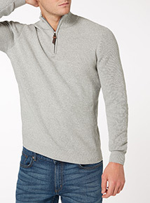 Grey Cotton Light Half Zip
