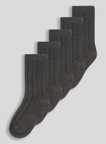 Grey Ribbed Socks 5 Pack