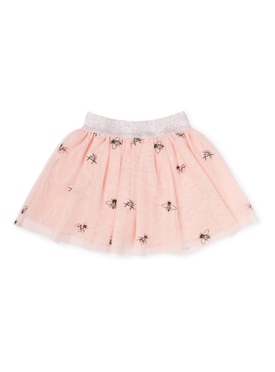 Pink Bug Embroidered Net Skirt (3-14 years)