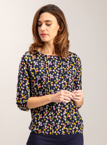 Multicoloured Floral Bee Print Bubble Hem Top