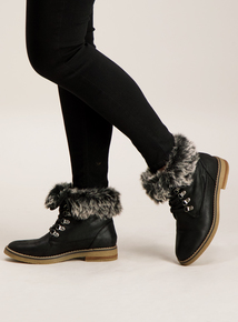 Online Exclusive Black Lace Up Faux Fur Trim Boot