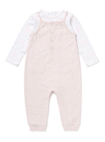 Pink Bodysuit and Dungarees Set (Newborn -12 months)