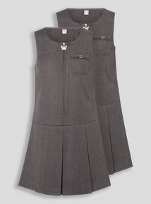 Grey Zip Through Plus Fit Pinafore 2 Pack (3-12 years)