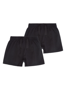 Unisex Black Rugby Shorts 2 Pack (3-12 years)