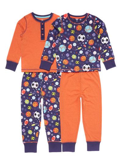 2 Pack Orange Sporty Space Pyjamas (1.5-12 years)