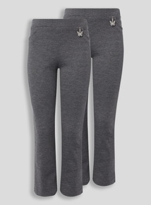 Girls Grey Jersey Trousers 2 Pack (2-12 years)
