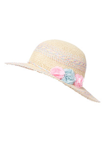 Multicoloured Floppy Straw Hat (1-13 years)