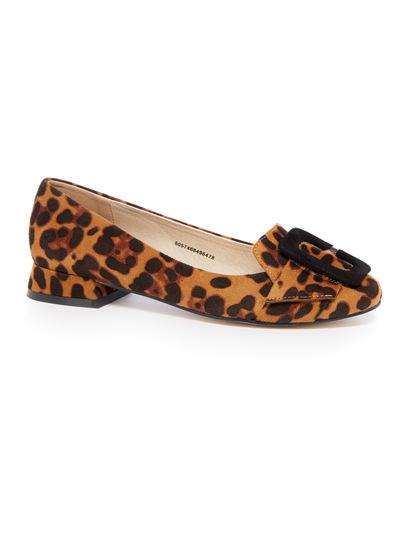 Leopard Print Buckle Ballerina Shoe