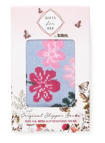 Blue Totes Floral Print Slipper Socks