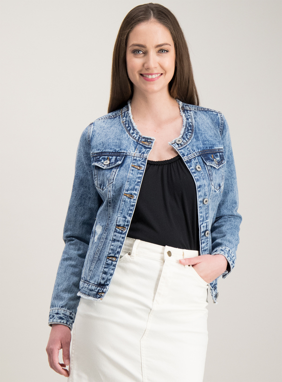 on sale 57b53 29f88 SKU COLLARLESS DENIM JACKET SS19:Denim