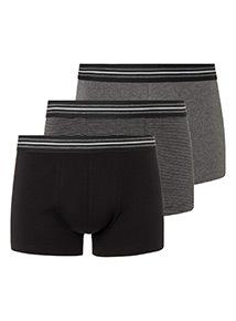 3 Pack Black Striped Hipster Briefs