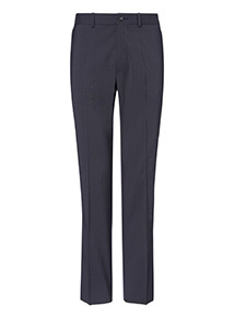 Navy Textured Tailored Fit Trousers With Stretch