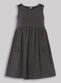 Grey Bow Pocket Pinafore Dress (3-12 years)