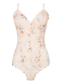 Pink Floral Print Lace Body