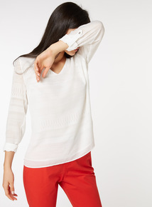 Textured Stripe Roll Sleeve Blouse