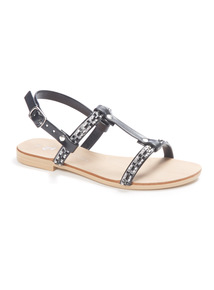 Black Bling Flat Sandals