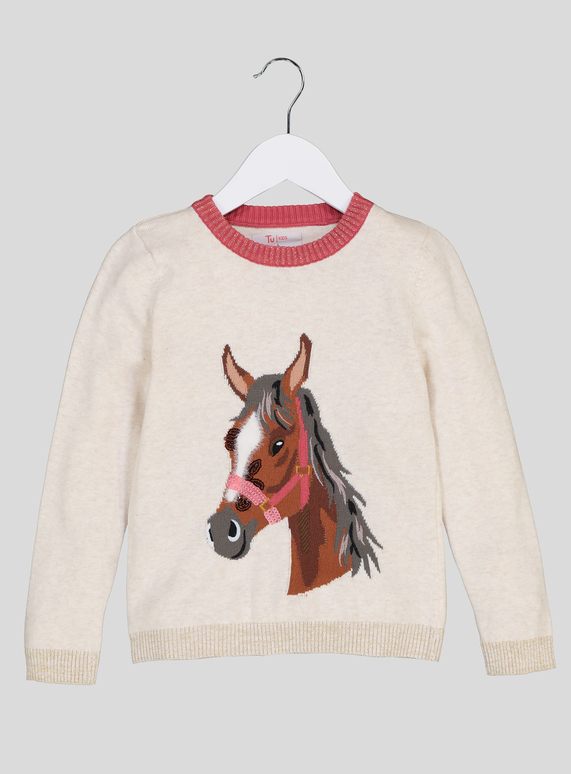 85ab9f0f0 Kids Cream Horse Motif Knitted Jumper (3-14 years)