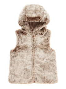 Brown Fur Hooded Gilet ( 3-12 years)