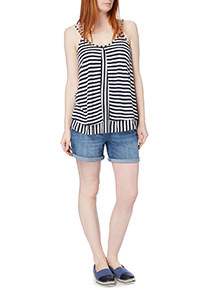 Navy Striped Double Layer Vest