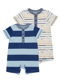 Blue Jersey Rompers 2 Pack (0 - 24 months)