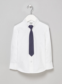 White Smart Occasion Shirt and Tie Set (3-14 years)