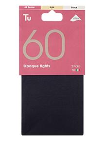 Black 60 Denier Opaque Tights 2 Pack